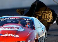 Nov 11, 2016; Pomona, CA, USA; NHRA pro stock driver Shane Gray during qualifying for the Auto Club Finals at Auto Club Raceway at Pomona. Mandatory Credit: Mark J. Rebilas-USA TODAY Sports
