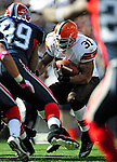 11 October 2009: Cleveland Browns' running back Jamal Lewis rushes for short yardage in the second quarter against the Buffalo Bills at Ralph Wilson Stadium in Orchard Park, New York. The Browns defeated the Bills 6-3 for Cleveland's first win of the season...Mandatory Photo Credit: Ed Wolfstein Photo