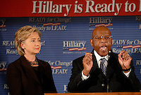 ATLANTA, GA - October 12, 2007: Georgia Representative and civil rights icon John Lewis announces his endorsement of Hillary Clinton in the Democratic presidential primary at Pascals restaurant in Atlanta, Georgia. <br /> <br /> In late, February 2008 Lewis dropped his endorsement for Clinton and instead announced he was for Barack Obama.