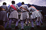 At a Manali wedding the dancing can go on for days without stop. Here a group of dancers forms a circle around the wedding musicians.