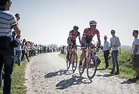 Jasper Stuyven (BEL/Trek-Segafredo) leading the race on sector 16 (Warlaing to Brillon) in a two-men break with Daniel Oss (ITA/BMC)<br /> <br /> 115th Paris-Roubaix 2017 (1.UWT)<br /> One Day Race: Compi&egrave;gne &rsaquo; Roubaix (257km)