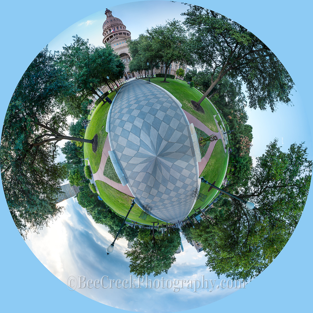 This is a tiny planet capture where we did a 360 panorama of the Texas Capital and then put it together to create this circular photo.  It is a unique perspective of the capital,