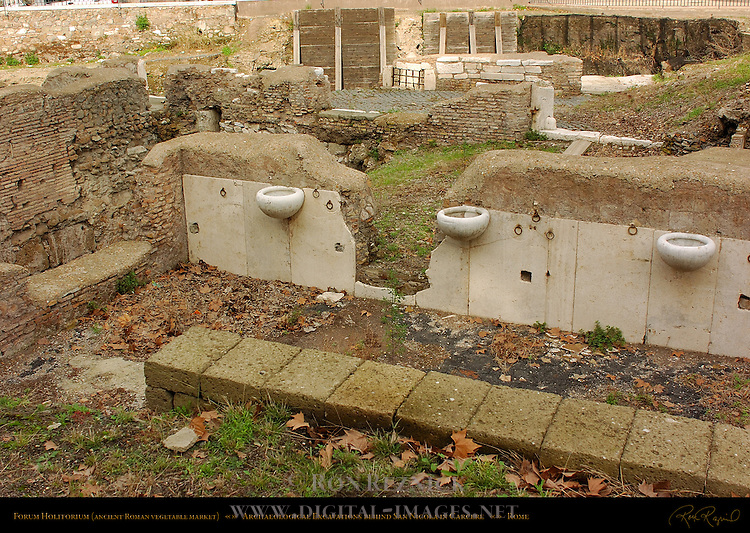 Archaeological Excavations Forum Holitorium ancient Roman vegetable market behind San Nicola in Carcere Rome