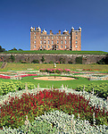 Scottish castle summer in the formal garden looking up to Drumlanrig Castle Nithsdale Dumfries and Galloway Scotland UK