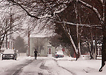 The blizzard of 2010 begins, coating trees and roads in Rehoboth Beach, Delaware, USA.