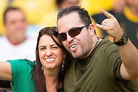 Uruguay fans wearing Luis Suarez teeth