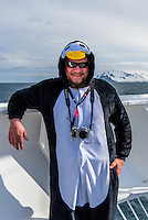 Antarctica expedition aboard the Hurtigruten FRAM ship. Harald dressed as a penguin.