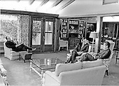 Washington, D.C - November 20, 1972 -- United States Ambassador to the United Nations George H.W. Bush, center, meets United States President Richard M. Nixon, right, and White House Chief of Staff John Ehrlichman, left at Camp David near Thurmont, Maryland on November 20, 1972. .Credit: White House via CNP