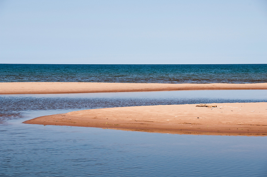 The mouth of the Salmon Trout River at Lake Superior near Big Bay Michigan.
