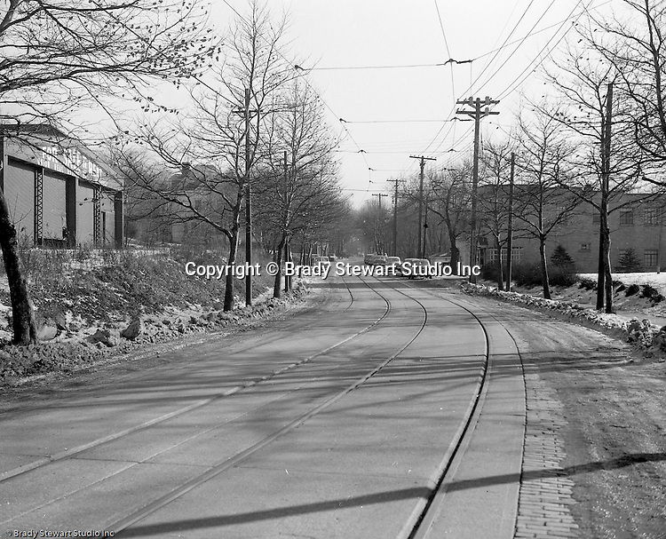 Emsworth PA:  View a street in Emsworth where  Railway Express wanted to lease the building on the right to store and service trolley cars.  The assignment was for the law firm of Reed, Smith, Shaw and McClay who was representing Railway Express in trying to get the local zoning law changed - 1951