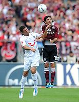 FUSSBALL   1. BUNDESLIGA  SAISON 2011/2012   2. Spieltag 1 FC Nuernberg - Hannover 96          13.08.2011 Manuel Schmiedebach (li, Hannover 96) gegen Almong Cohen (re, 1 FC Nuernberg)