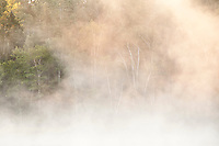 Morning mist along the Michigamme River near Republic Michigan.