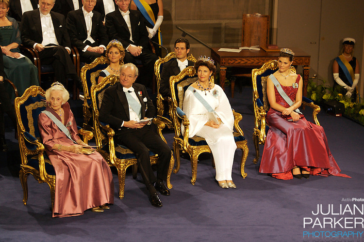 The Swedish Royal Family attend The Nobel Prize Award Ceremony at Stockholm Concert Hall, in Sweden..King Carl Gustaf, and Queen Silvia, Crown Princess Victoria, Princess Madeleine, and Prince Carl Philip attend.