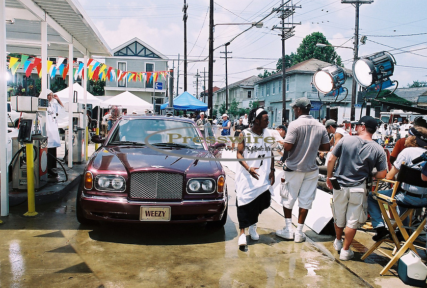 Lil Wayne brings his video on set of his video in New Orleans, Louisiana.  Photo credit:  Presswire News/Elgin Edmonds