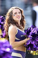 2013-09-21: Washington cheerleader Randi Mendel entertained fans during the game  against Idaho State.  Washington won 56-0 over Idaho State in Seattle, WA.