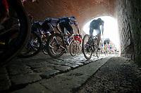 peloton through the tunnel on top of Casselberg<br /> <br /> Gent-Wevelgem 2014