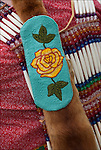 Close up of Native American Pow Wow Regalia bead work. Example of ethnic pride, heritage and traditional folk art crafts.