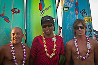 Waimea Bay, Hawaii, Thursday December 4 2008 .North Shore of Oahu,. Michael Ho (HAW), Nathan Fletcher (USA) and Bruce Irons (HAW). The opening ceremony of the Quiksilver in Memory of Eddie Aikau Big Wave Invitational was held today at Waimea Bay.  This year's event celebrates the 24th anniversary of this unique big wave riding event. Photo: joliphotos.com