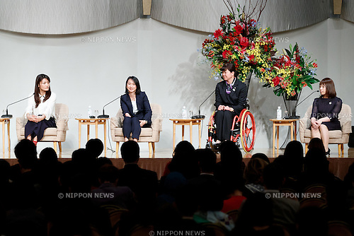(L to R) Rio Olympic wrestling gold medalist Kaori Icho, Rio Paralympic track and field bronze medalist Sae Tsuji, Athens Paralympic swimming gold medalist Mayumi Narita and Rio Olympic weigh lifting bronze medalist Hiromi Miyake, attend the World Assembly for Women : WAW! 2016 on December 13, 2016, Tokyo, Japan. Female leaders from politics, business, sports and society are attending WAW! 2016 to discuss the roles of women in their countries and affiliations. Japan is trying to increase the participation of women in work and Abe's administration set a goal of increasing the share of women in management roles to 30 percent by 2020. WAW! 2016 is being held from December 13 to 14 at the Grand Prince Hotel New Takanawa in Tokyo. (Photo by Rodrigo Reyes Marin/AFLO)