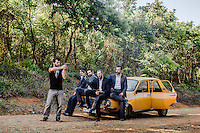 Actors playing roles of Turkish Mafia wait to kidnap a young woman during filming of 'Oyle Bir Gecer Zaman Ki' (As Time Goes By), one of the most loved and most watched Turkish Soap Operas in the Middle East and North Africa.