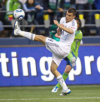 Vancouver Whitecaps FC  defender Alain Rochat tries to block a pass during play against the Seattle Sounders FC at Qwest Field in Seattle Saturday June 11, 2011. The game ended in a 2-2 draw.