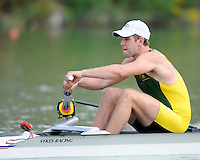 Ottensheim, AUSTRIA. AUS JM2-, Opening stroke for  Matthew DIGNAN,  as the pair move away from the start pontoon, in their morning heat at the 2008 FISA Senior and Junior Rowing Championships,  Linz/Ottensheim. Wednesday,  23/07/2008.  [Mandatory Credit: Peter SPURRIER, Intersport Images] Rowing Course: Linz/ Ottensheim, Austria