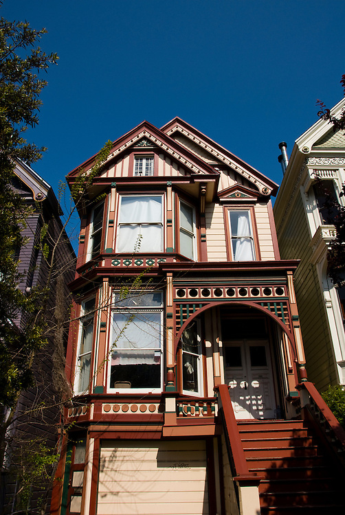 California: San Francisco. Victorian house in the Haight-Ashbury district. Photo copyright Lee Foster. Photo # 28-casanf79210