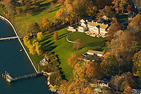 Connecticut, Greenwich, Mansion, Aerial, Fall