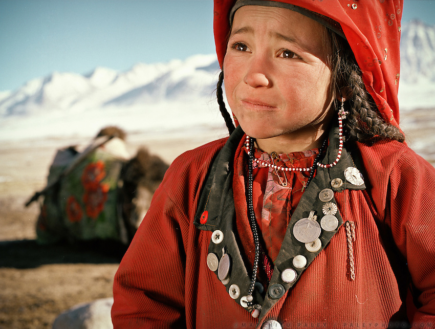 Aziz's daughter. Aziz is another opium addict from the Khan's clan, and one of the Khan's son. .Qyzyl Qorum campment, Abdul Rashid Khan's camp (leader of the Afghan Kyrgyz). .Winter expedition through the Wakhan Corridor and into the Afghan Pamir mountains, to document the life of the Afghan Kyrgyz tribe. January/February 2008. Afghanistan