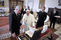 Pope Francis  Serbian President Tomislav Nikolic during a private audience at the Vatican on September 11, 2015.