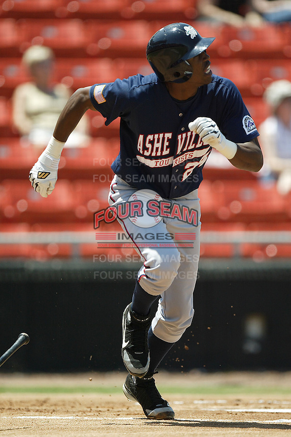 Asheville center fielder Dexter Fowler follows through on his swing in game action versus Hickory at L.P. Frans Stadium in Hickory, NC, Sunday, May 21, 2006.  Hickory defeated Asheville 5-4.