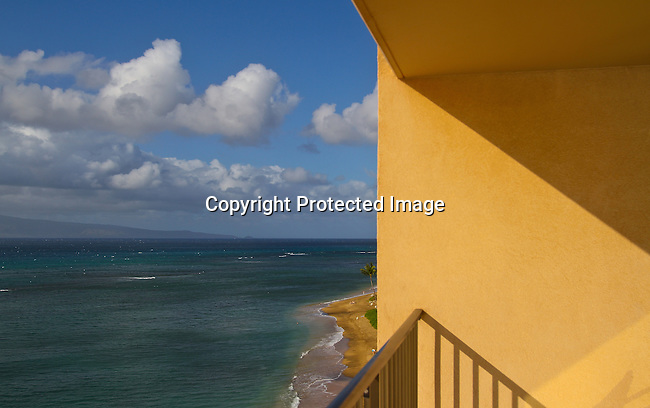 The view of the beach and ocean on the western coast of Maui, Hawaii, near Kahana Beach  north of Lahaina. <br /> Jim Urquhart/Strayighteffect.com