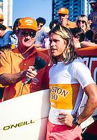 Brad Gerlach (USA) after winning the Gunston 500 at Durban South Africa being interviewed by Randy Rarrick (HAW). circa 1991 Photo: joliphotos.com