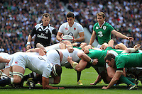 Ben Youngs of England looks to put the ball into a scrum. QBE International match between England and Ireland on September 5, 2015 at Twickenham Stadium in London, England. Photo by: Patrick Khachfe / Onside Images