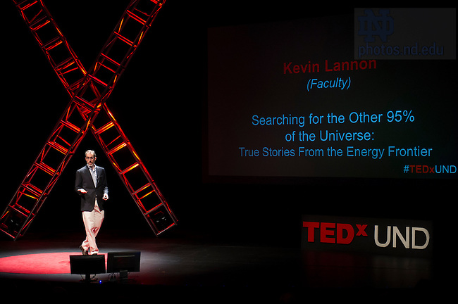 """Jan. 21, 2014; Kevin Lannon delivers his talk titled, """"Searching for the Other 95% of the Universe: True Stories From the Energy Frontier,"""" during the TEDxUND 2014 event in the Debartolo Performing Arts Center. Photo by Barbara Johnston/University Photographer"""
