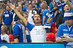 Rosenborg v St Johnstone....18.07.13  UEFA Europa League Qualifier.<br /> SAINTS FANS<br /> Picture by Graeme Hart.<br /> Copyright Perthshire Picture Agency<br /> Tel: 01738 623350  Mobile: 07990 594431