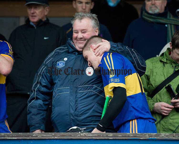 Man-of-the-match Colin Ryan is embraced by his uncle Christy Ryan following the senior county hurling final at Cusack Park. Photograph by John Kelly.