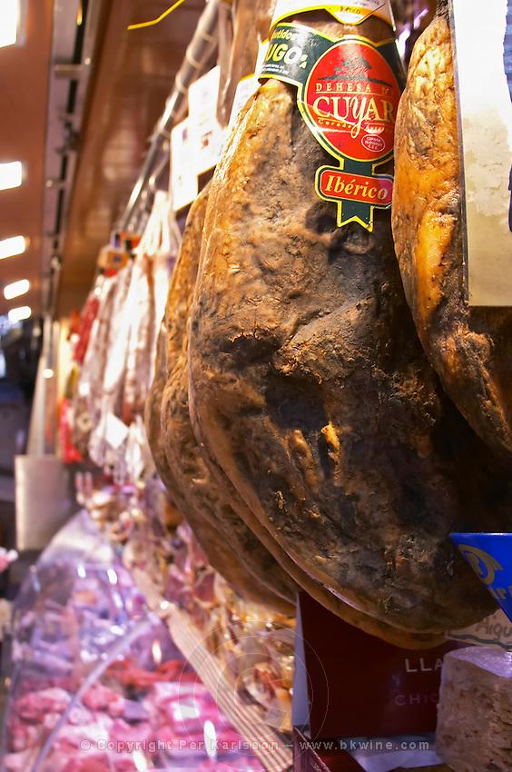 On a street market. On a street market. Ham. Barcelona, Catalonia, Spain.