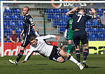 Ross County v St Johnstone&hellip;..30.04.16  Global Energy Stadium, Dingwall<br />David Wotherspoon is sent flying by Michael Gardyne<br />Picture by Graeme Hart.<br />Copyright Perthshire Picture Agency<br />Tel: 01738 623350  Mobile: 07990 594431