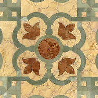 Jaen Grande, a natural stone waterjet mosaic, shown in Verde Luna, Rosa Verona polished and Crema Valencia honed, is part of the Miraflores Collection by Paul Schatz for New Ravenna Mosaics.