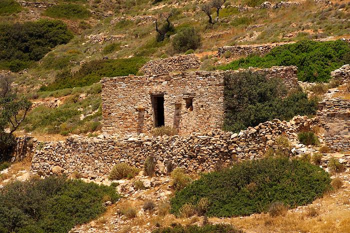 Abandoned farm ruins on Ios, Cyclades Islands, Greece
