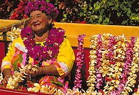 Auntie Maddie with flower leis