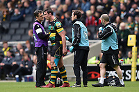 Louis Picamoles of Northampton Saints is treated for an injury by physios. Aviva Premiership match, between Northampton Saints and Saracens on April 16, 2017 at Stadium mk in Milton Keynes, England. Photo by: Patrick Khachfe / JMP