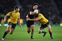 Nehe Milner-Skudder of New Zealand takes on the Australia defence. Rugby World Cup Final between New Zealand and Australia on October 31, 2015 at Twickenham Stadium in London, England. Photo by: Patrick Khachfe / Onside Images