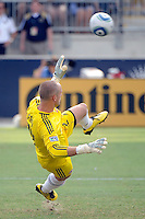 Toronto FC goalkeeper Stefan Frei (24) dives the wrong way on a penalty kick in second half stoppage time. The Philadelphia Union defeated Toronto FC 2-1 on a second half stoppage time goal during a Major League Soccer (MLS) match at PPL Park in Chester, PA, on July 17, 2010.