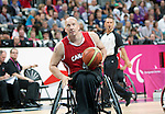 LONDON, ENGLAND 30/08/12: Dave Durepos competes in the Men's Wheelchair Basketball preliminary round CAN vs. JPN at the London 2012 Paralympic Games at the Basketball Arena (Photo by: Courtney Pollock/Canadian Paralympic Committee)
