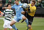 11 December 2011: UNCC's Klay Davis (right) and North Carolina's Ben Speas (17). The University of North Carolina Tar Heels defeated the University of North Carolina Charlotte 49ers 1-0 at Regions Park in Hoover, Alabama in the NCAA Division I Men's Soccer College Cup Final.
