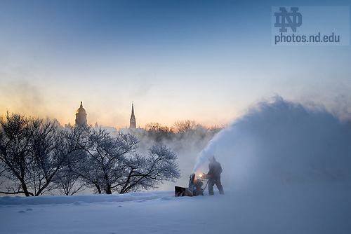 December 19, 2016; Snowblower at Moreau Seminary on a below zero temperature morning. (Photo by Matt Cashore/University of Notre Dame)