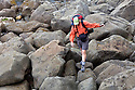 WA06815-00...WASHINGTON - Hiker along the Pacific Ocean at Chilean Memorial in Olympic National Park. (MR#H2)