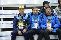 SCHAATSEN: CALGARY: Olympic Oval, 08-11-2013, Essent ISU World Cup, Viktor Kostenko (KAZ), Vadim Sayutin (trainer/coach KAZ), Sergey Klevchenya (trainer/coach KAZ), ©foto Martin de Jong